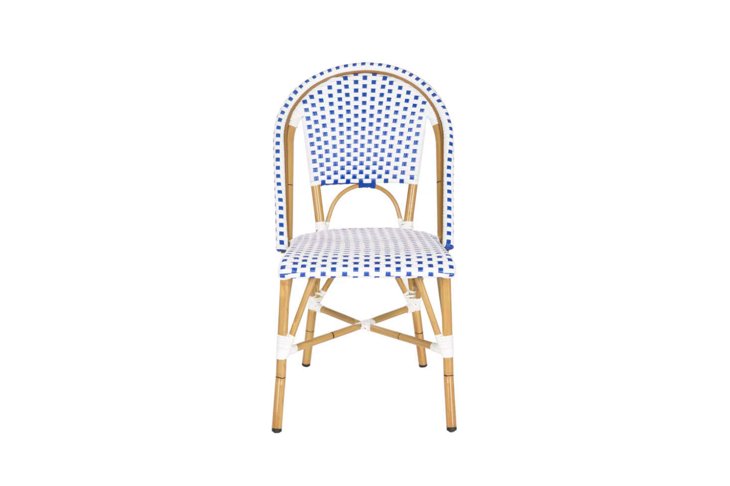 A variation on a common theme, the Salcha Indoor-Outdoor French Bistro Stacking Side Chair comes in five colors at Target; $349.99 for a pair. It's made by Safavieh, which also supplies the same or similar designs to Home Depot, Wayfair, Overstock, and others.