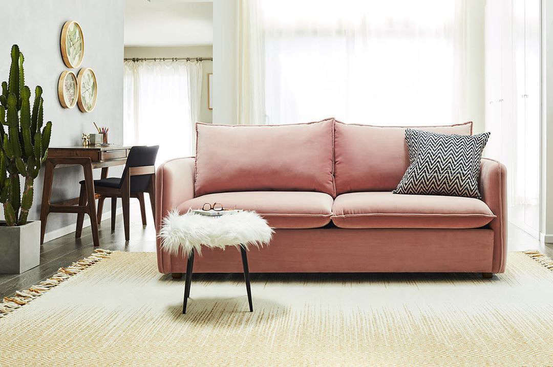 The Hailey Sofa in blush velvet from Apt2B.