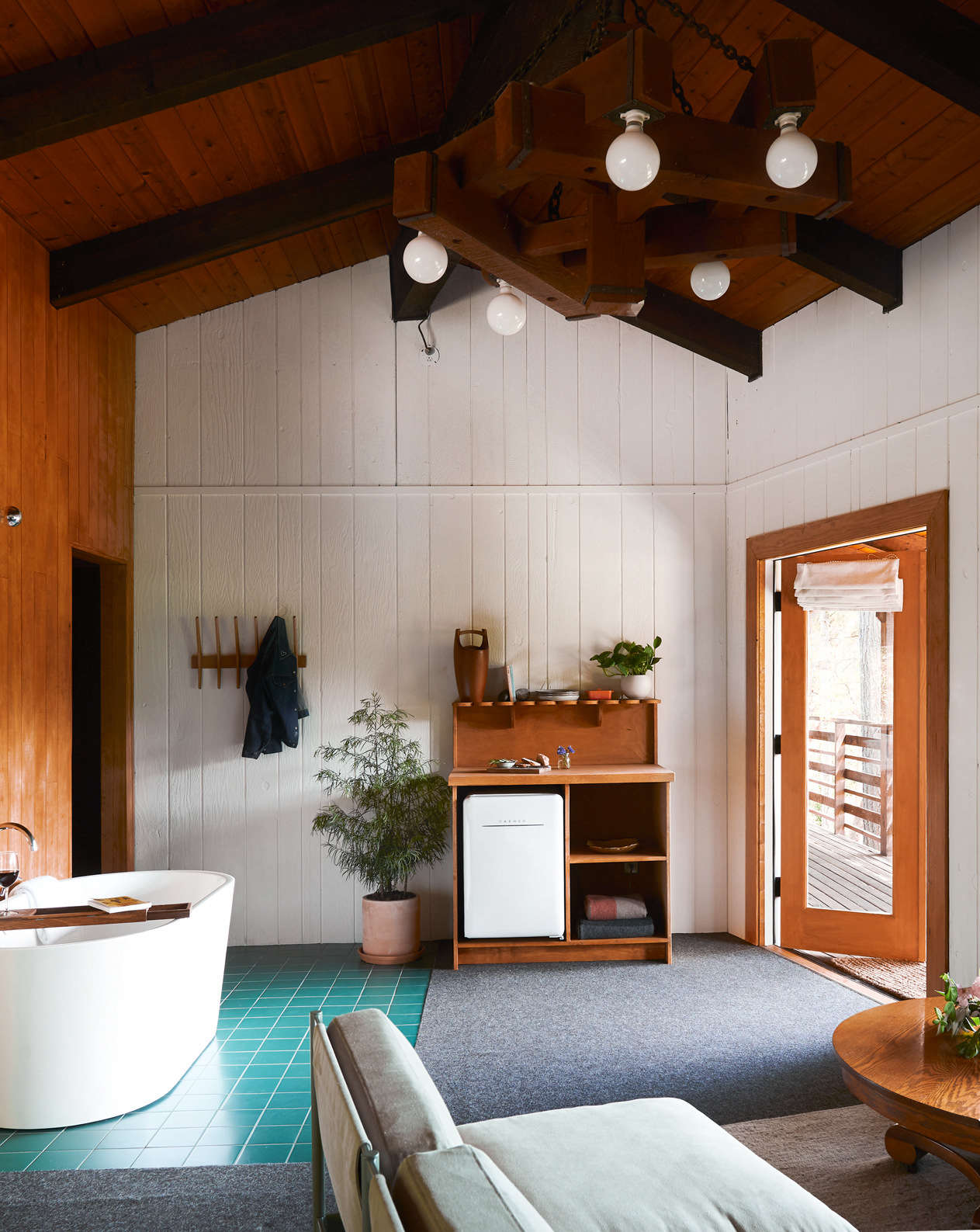 An in-room soaking tub in the Scandi-inspired suite.