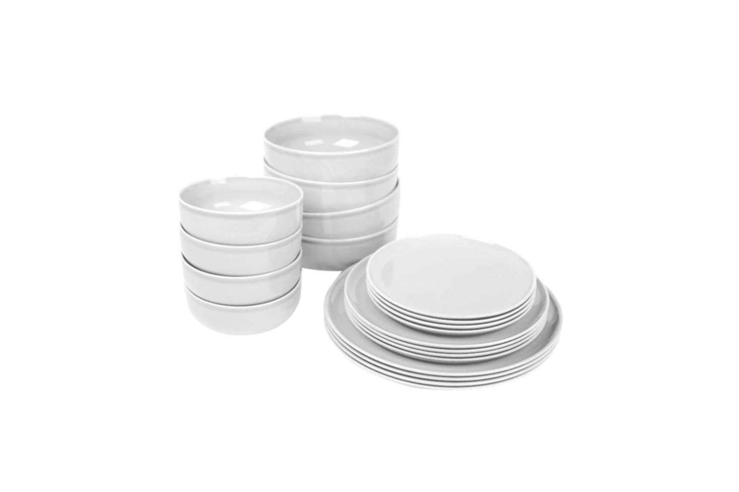 Architects Jonas Bjerre-Poulsen and Kasper Rønn of Danish studio Norm Architects designed the New Norm Dinnerware for Menu in Ocean, Smoke, Dark Glazed, and White (shown). The New Norm Dinnerware Starter Set with four of each dish is $603.90 at the Danish Design Store.