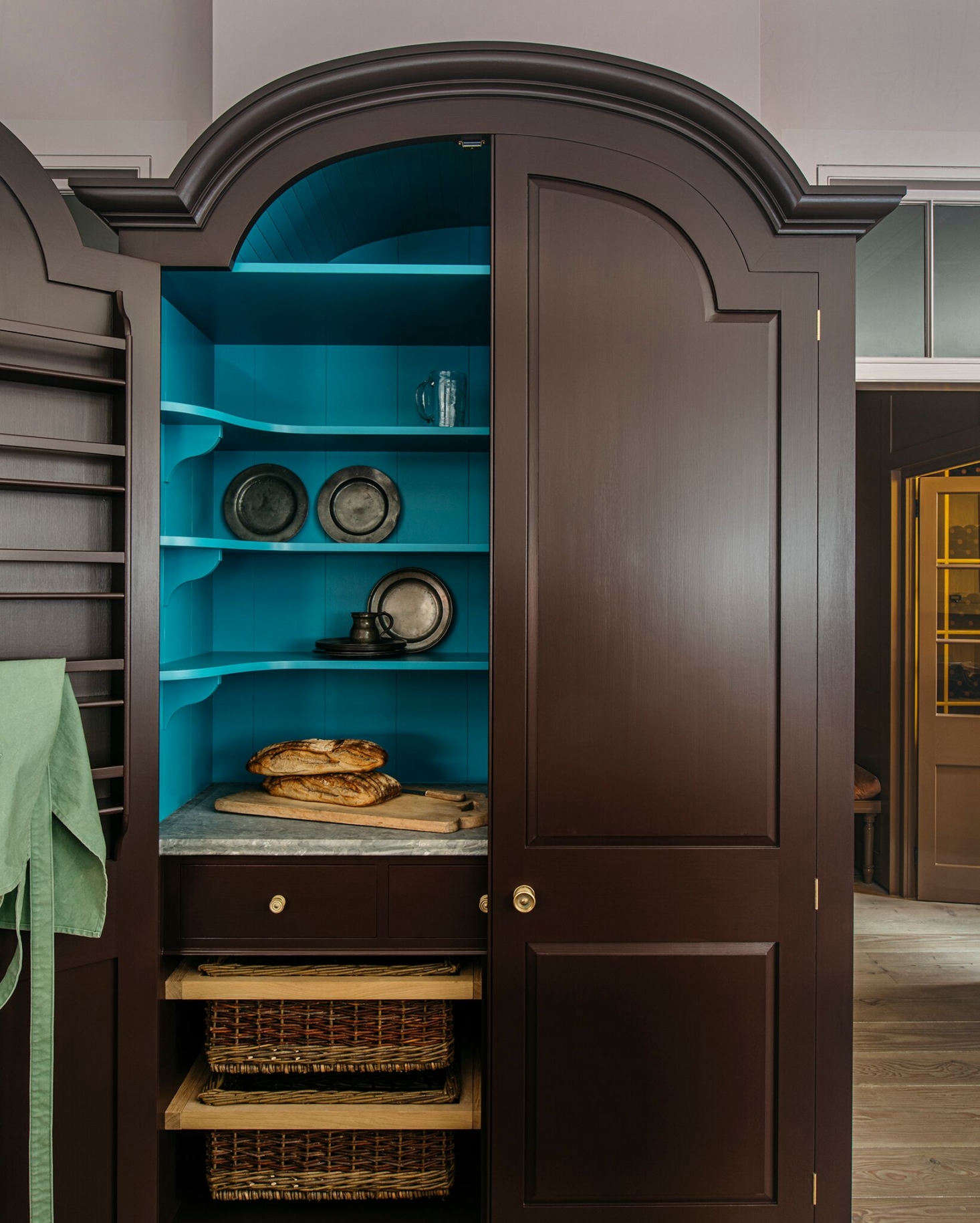 The cupboard interior is painted in Tea Caddy, which was &#8