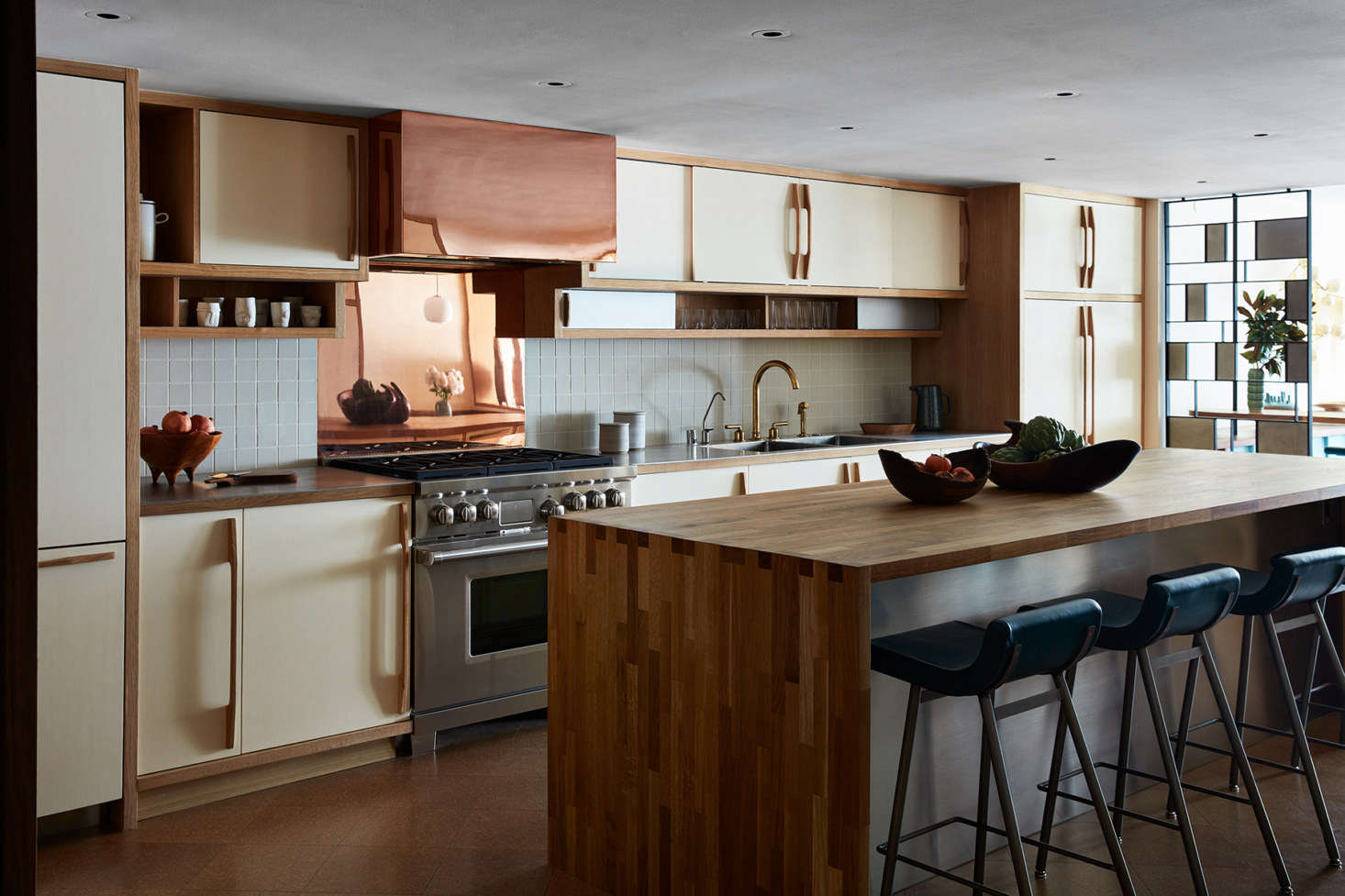 """The white oak cabinets are painted """"Blanc,&#8"""