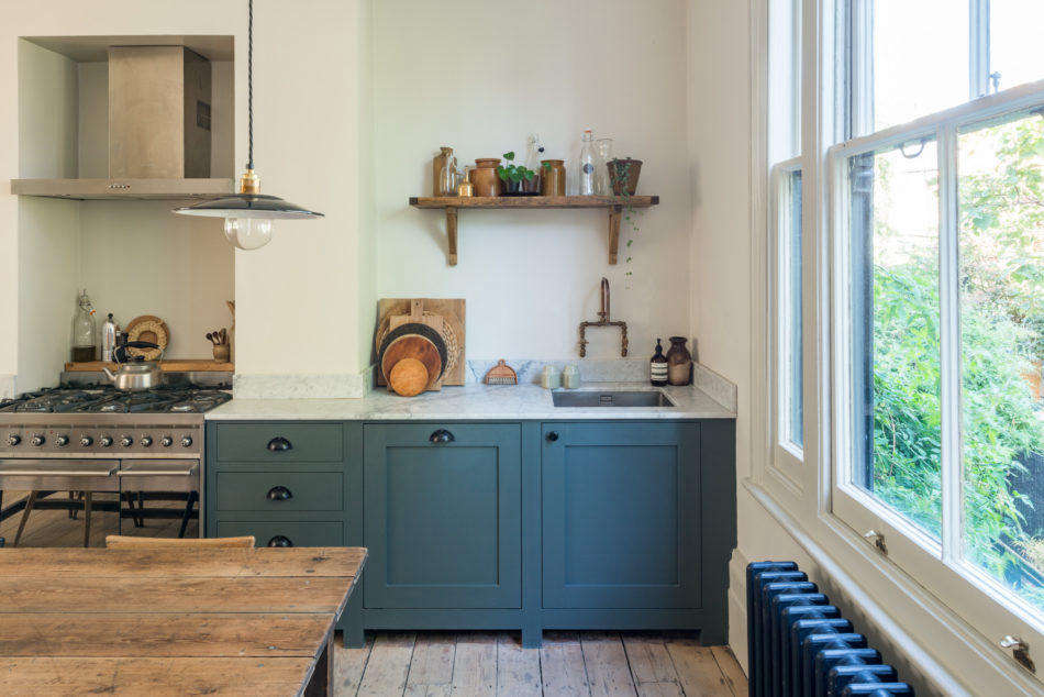 The kitchen cabinets are painted Farrow & Ball&#8