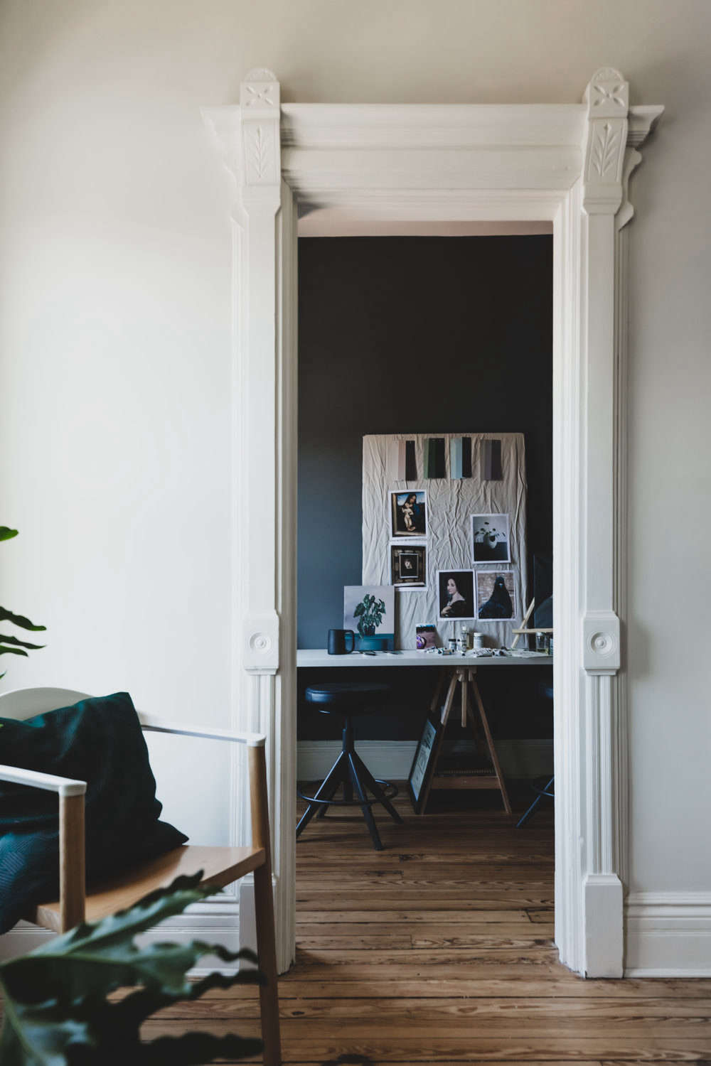 The small space off the bedroom—where Benjamin Moore Arctic Seal puts in another appearance—is now Andrea&#8