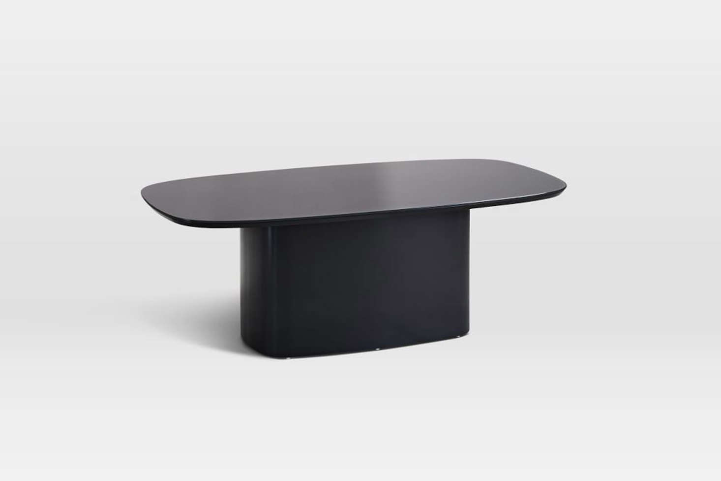 The Superellipse Glass Top Coffee Table in Anthracite is $9.99 at West Elm.
