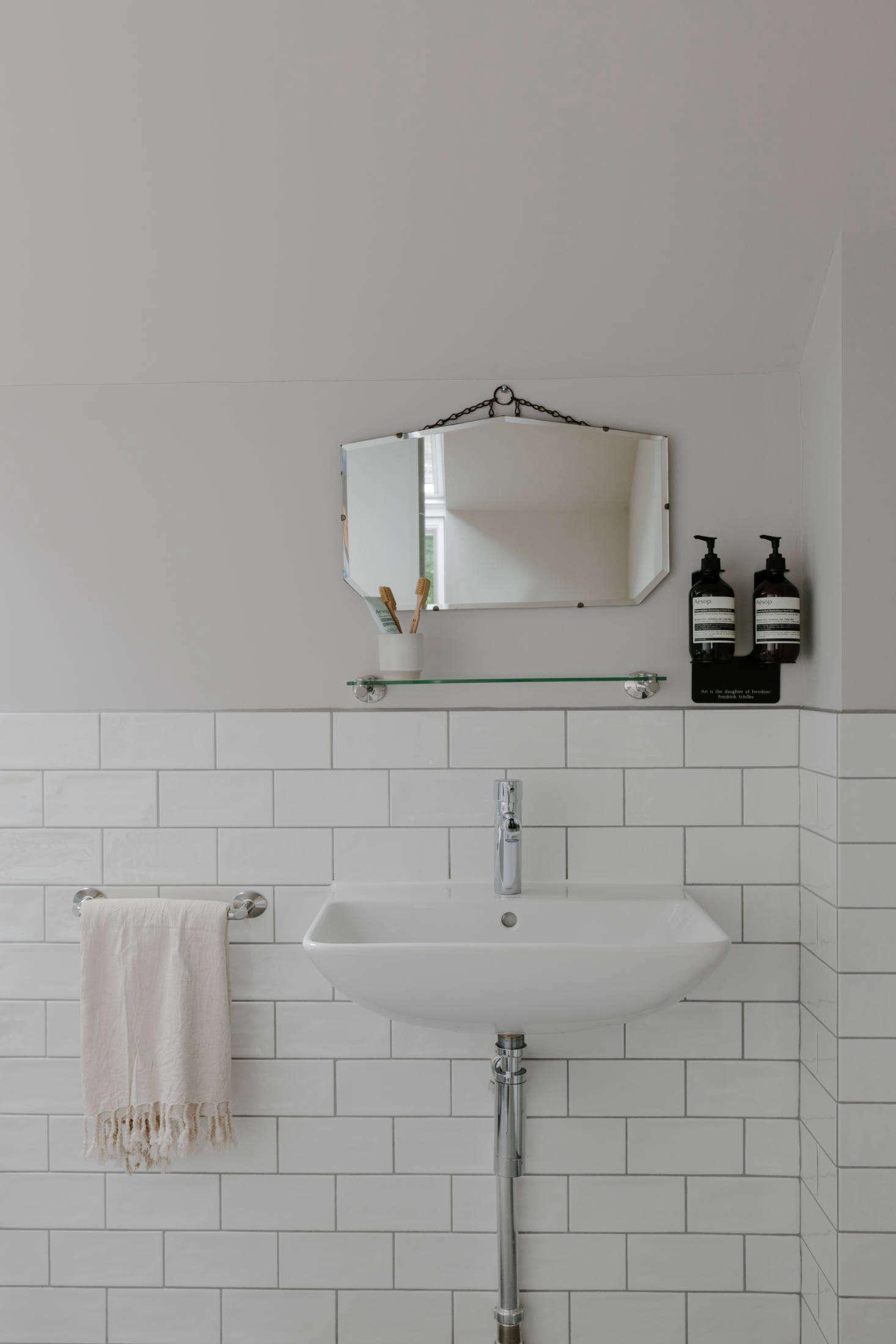 The vintage bath mirrors wereEbay finds.
