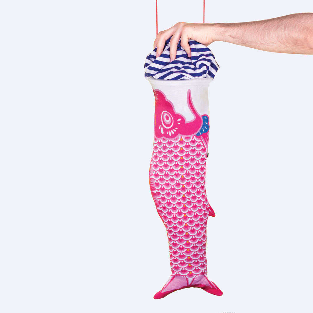 The Koinobori Laundry Bag was inspired by the classic carp-shaped Japanese wind sock; €src=