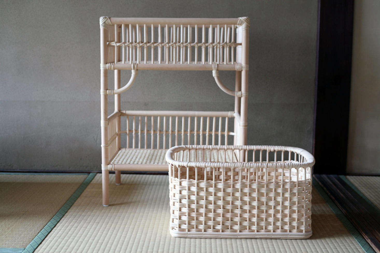 From Tsuruya Shoten, a Japanese workshop specializing in rattan designs, the Rattan Laundry Rack has a top compartment intended as a &#8
