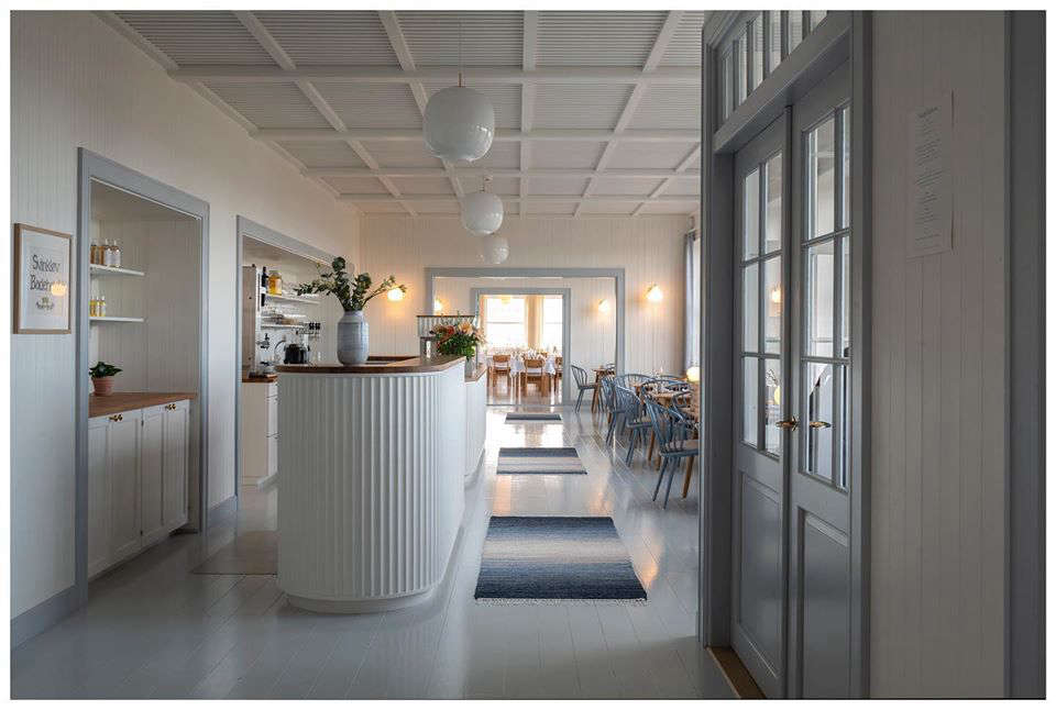 At Svinkløv Badehotel, a reinvented resort on the North Sea in Denmark, the reception desk is fluted. See our post, The Reincarnation of a Beloved Danish Seaside Hotel. Photograph by Jens Lindhe, courtesy of Praksis.