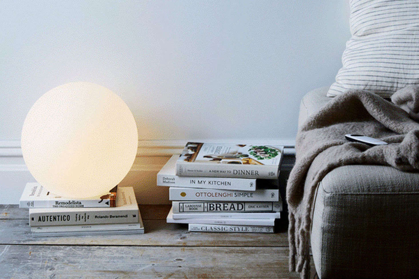 The Allsop Luna Lamp is an LED with a remote control (it actually changes color, but you can leave it on the natural setting as well) that can be used for indoors or out; $90 at Food5