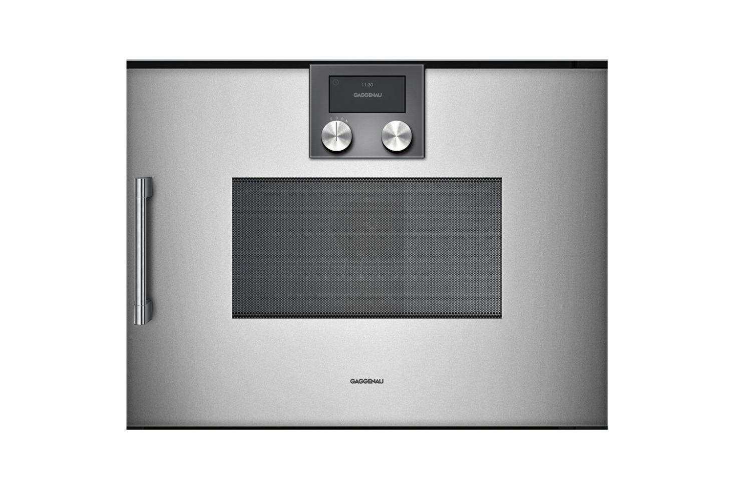 The Gaggenau 0 Series -Inch Speed Oven features a touch display, rapid heating, a 60-watt halogen light, and is controlled by a rotary knob. Available through AJ Madison; contact for pricing and availability.