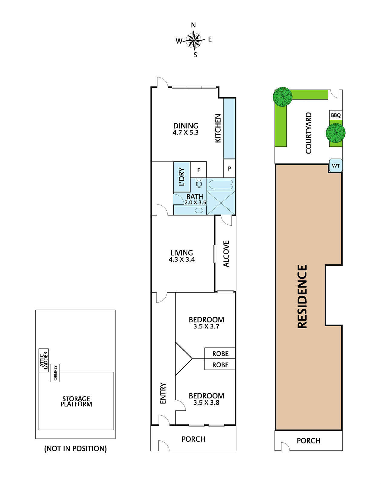 The floor plan shows the new kitchen-dining setup and artfully relocated laundry and full bath (which had formerly occupied the back). &#8
