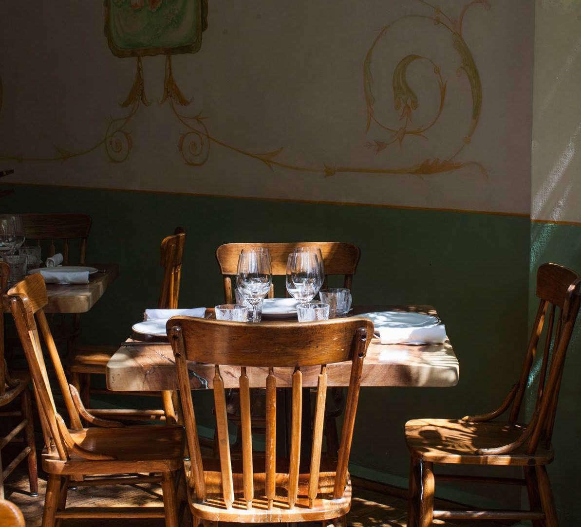 A sunlit dining corner.