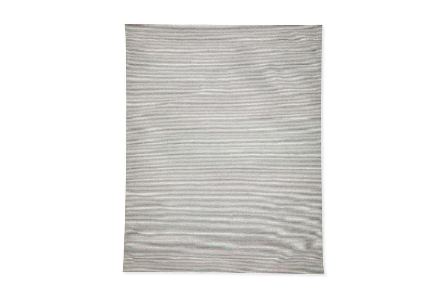 The Nantucket Rug in Nickel (shown) or Blue, is a simple striped flatweave rug made of wool and nylon; $798 for the 9&#8