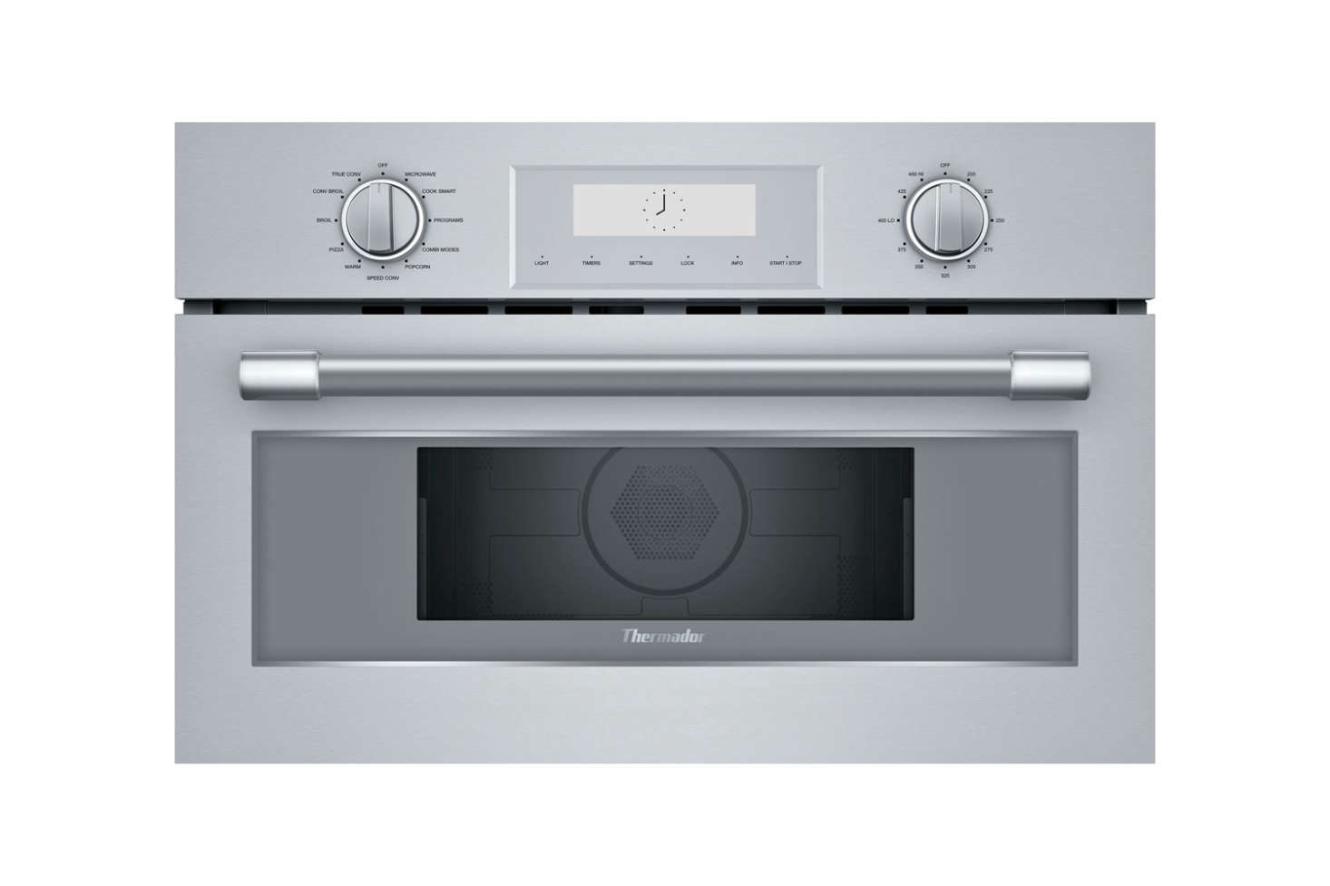 The Thermador Professional Series 30-Inch Speed Oven (MC30WP) with  power levels, a convection, and a keep-warm setting is $
