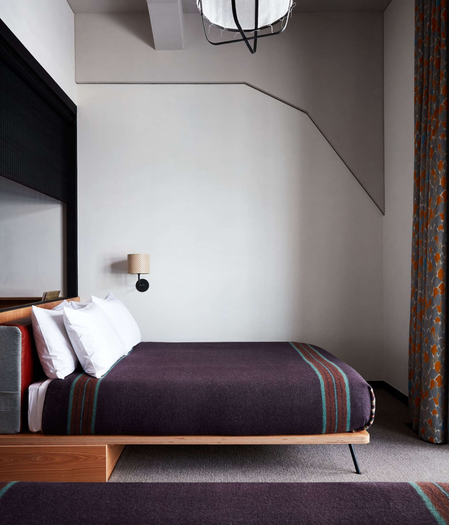 Minimalist platform beds simply covered with custom wool blankets made by Pendleton specifically for the hotel. After April , the blankets will be available for purchase in Ace&#8
