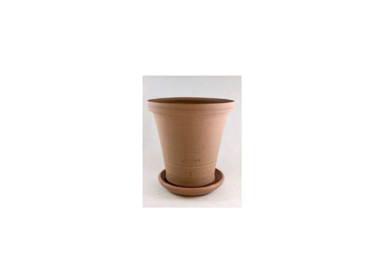We use a Ben Wolff flower pot to hold our wooden utensils. This #6 Flower Pot in Light Brown/Beige Clay is nearly 8 inches tall and similar to ours; $6
