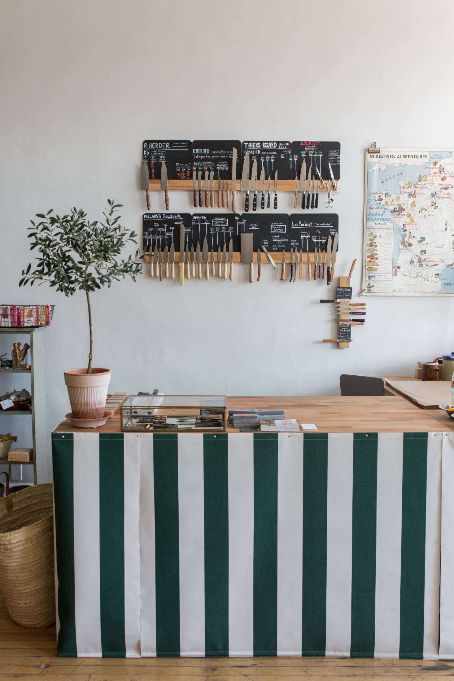 Behind the counter: A display of knives from all over Europe.