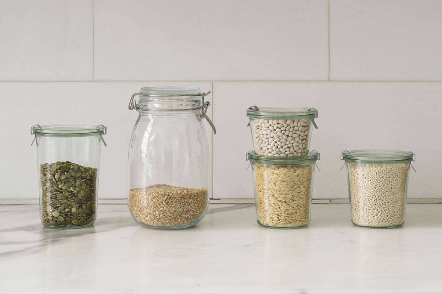 A longtime Remodelista favorite, the German Weck Jar (at left and right) designed for canning can be used (and we often do) without it&#8