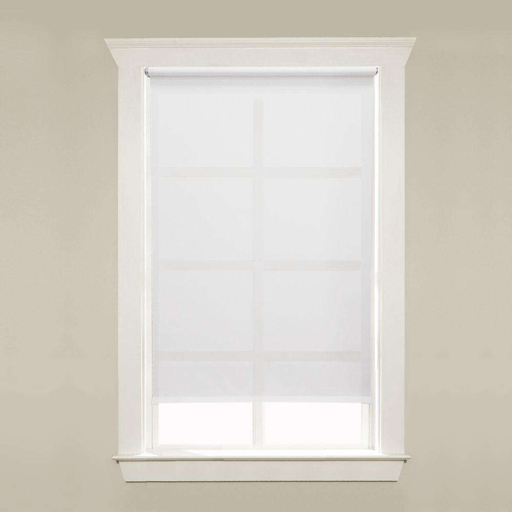 The affordable Hampton Bay Cut-to-Size White Cordless Light Filtering Roller Shades come in a wide range of widths and start at $.48 each from The Home Depot.