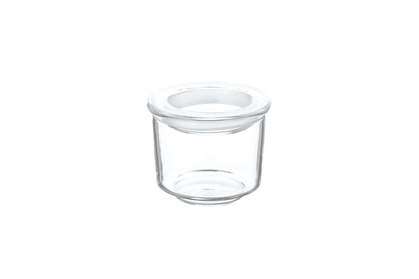 The simple Kinto Low Glass Canister had a glass lid and a clear rubber band seal; about $9 USD each at Dansk Shop.