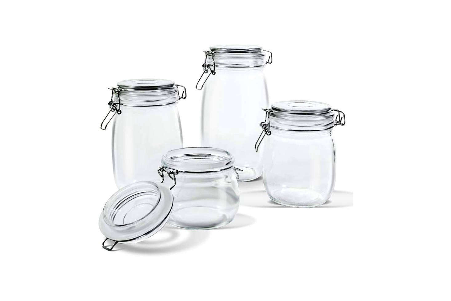 Available on Amazon, the Mast Home Glass Storage Jars are $.99 for a set of 4.