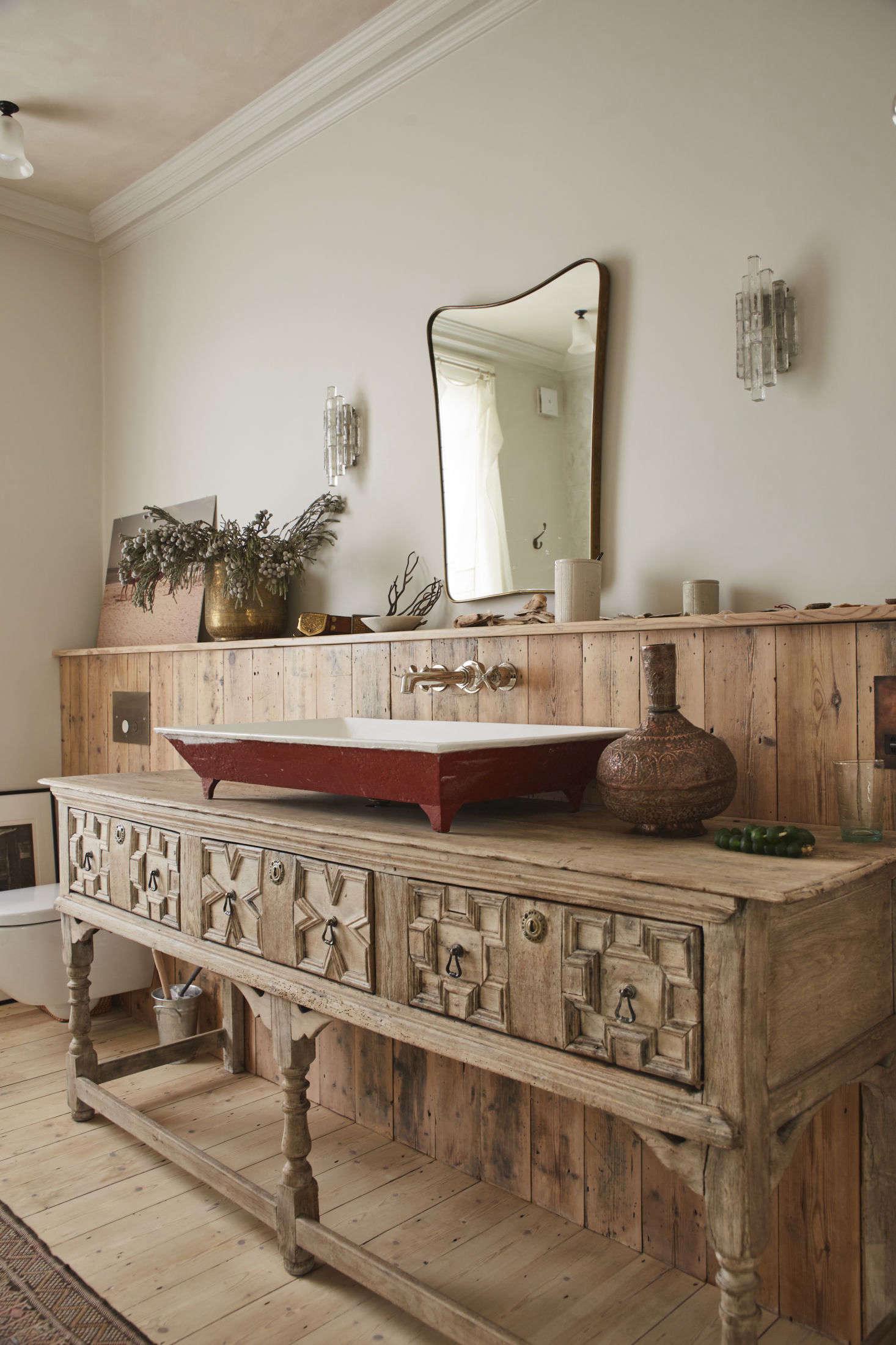 Antique sideboard as bathroom sink table, rRetrouvius design, London. Tom Fallon photo.