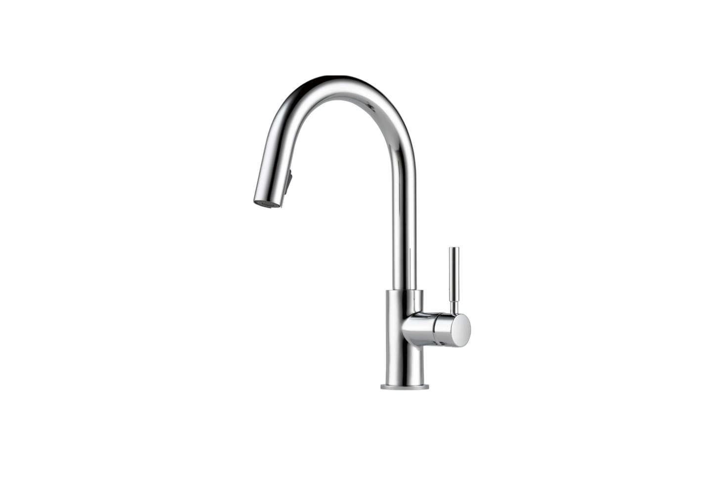 The Brizo Solna Kitchen Faucet (630LF) comes in polished chrome, matte black, and brilliance stainless; $375.84 at Quality Bath.
