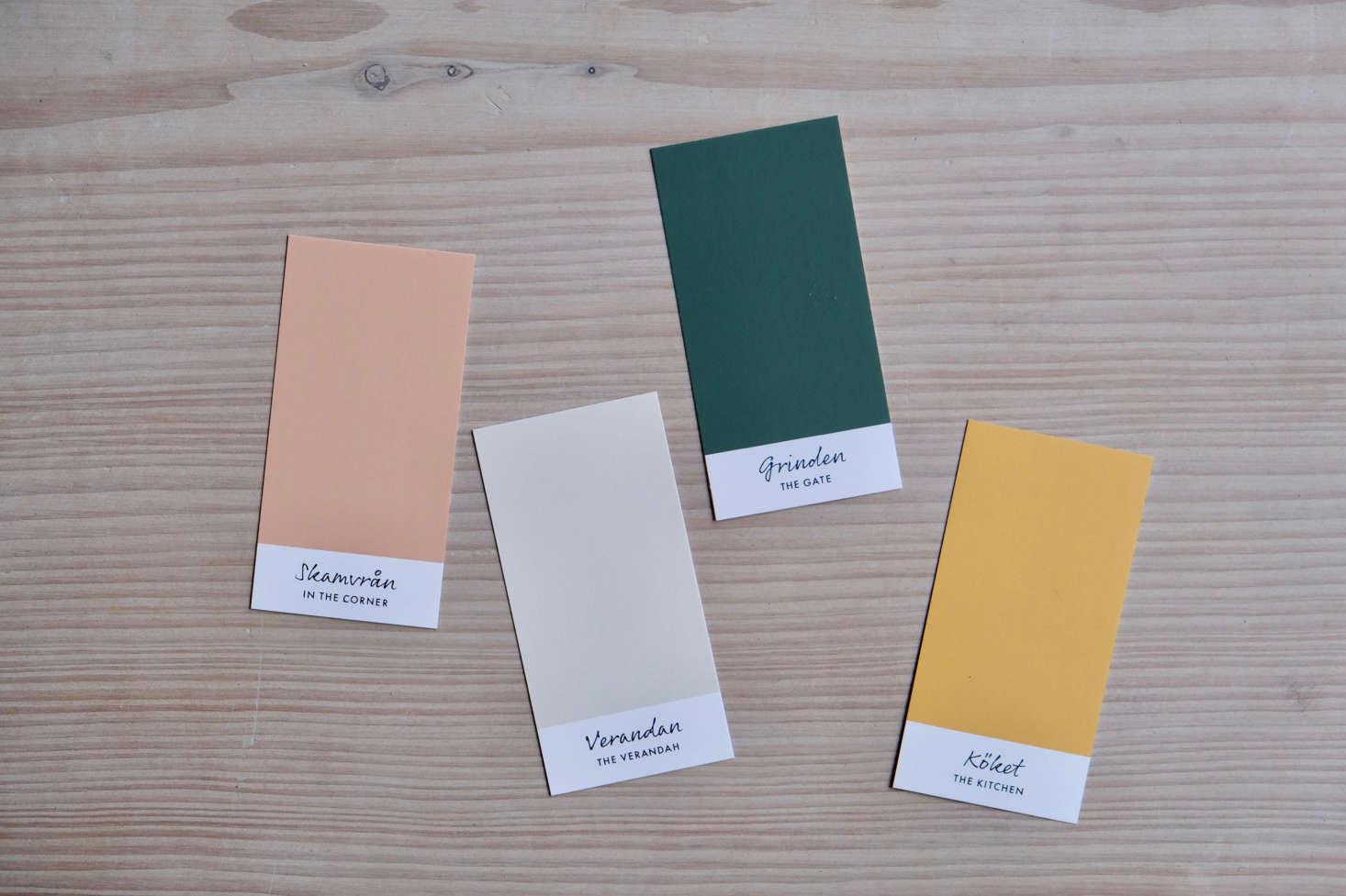 The Ett Hem palette includes (L to R) In the Corner (Skamvrån), The Verandah (Verandan), The Gate (Grinden), and The Kitchen (Köket), all named after Carl Larsson paintings.