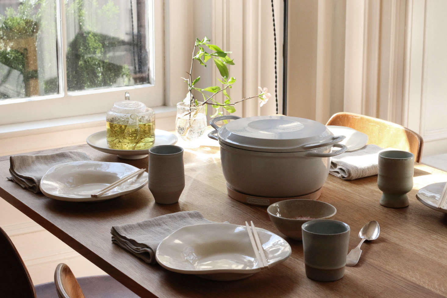 The table set for lunch. The Classic Dinner Plates in gloss white are by Chico, CA-based ceramicist Alex Marshall.
