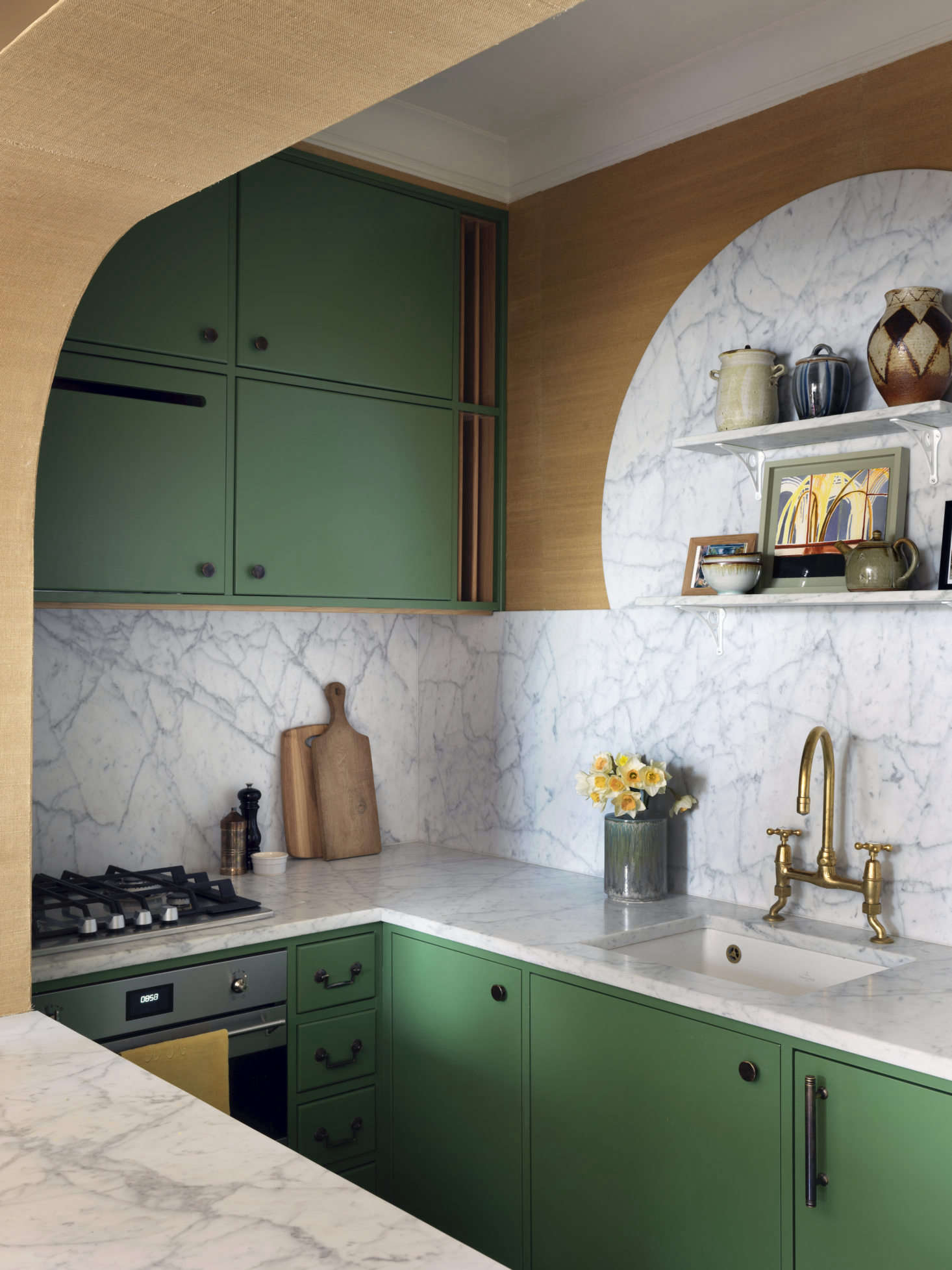 By installing bespoke kitchen cabinets—painted in Dulux&#8