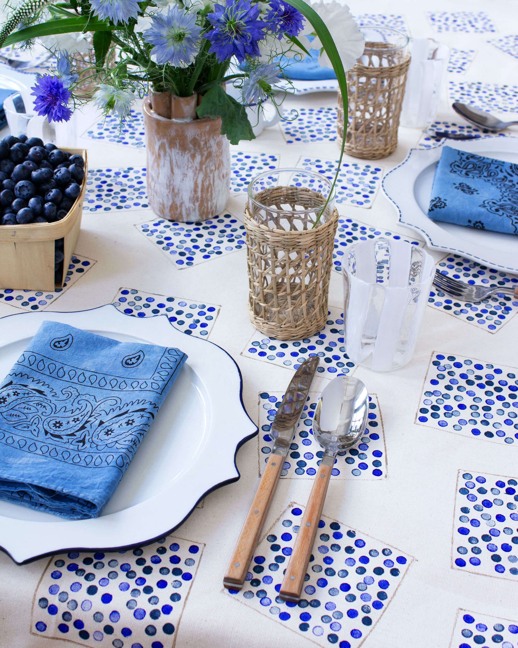 Fourth of July DIY: An Easy-Breezy Blueberry-Inspired Tablecloth by David Stark - Remodelista