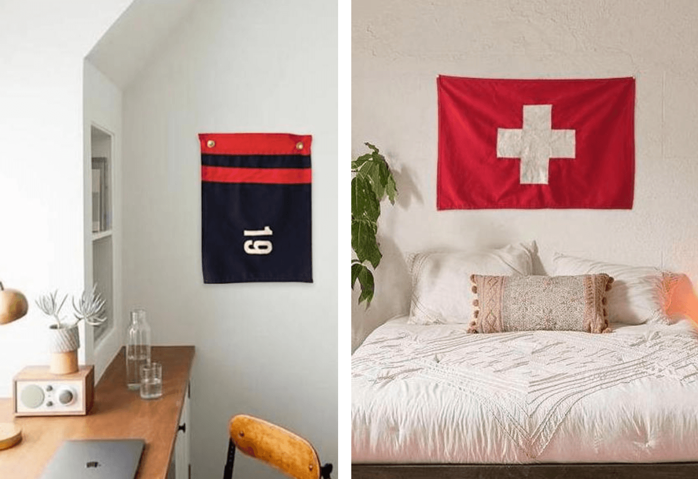 Above L: The Cabana Flag from Lost & Found Flag Co. is $90. Above R: The Swiss Ensign Flag from Lost & Found Flag Co. is $0.