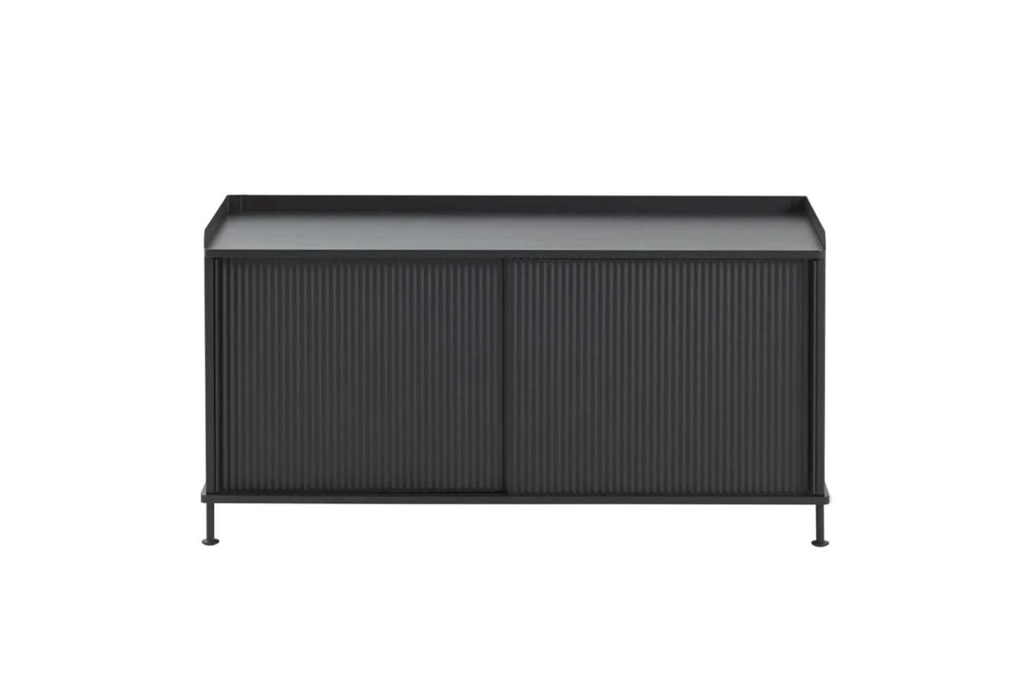 The Muuto Enfold Sideboard Low comes in black, oak/grey, and oak/dusty green for $