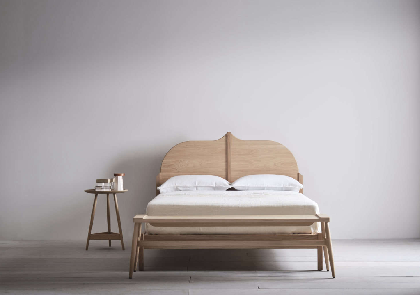The frames are also offered in European oak with a white oil finish. This Christo Bed is UK king size (which is the equivalent of an American queen.)