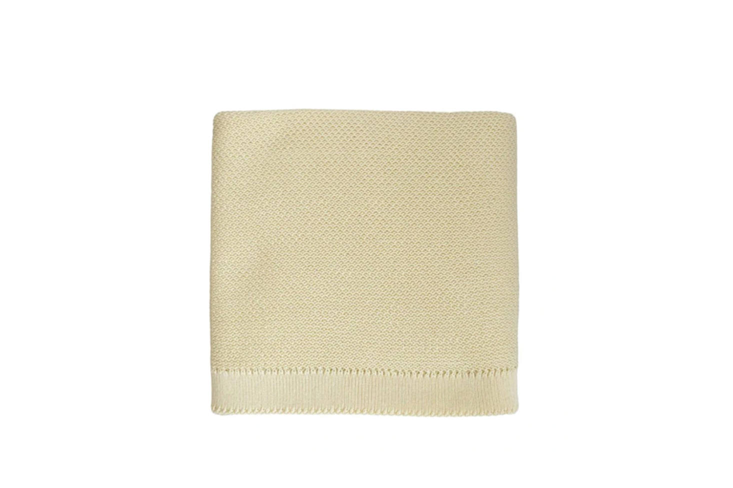 A sweet and soft handknit like the Hvid Blanket Cream is great for the newborn nursery. Knit in Belgium from lightweight cream-colored cotton, the blanket is €7