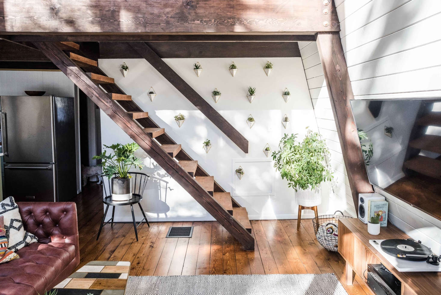 """""""These stairs take you up to the loft space and the master bedroom and bath."""""""